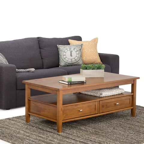 WYNDENHALL Norfolk SOLID WOOD 48- Inch Wide Rectangle Rustic Coffee Table - 48 Inches wide