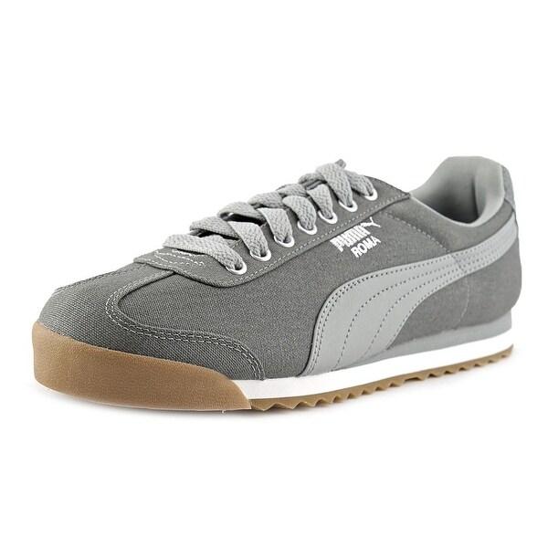Puma Roma Waxed Denim Men Round Toe Canvas Gray Sneakers
