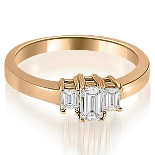 1.00 cttw. 14K Rose Gold Three Stone Emerald Cut Diamond Ring