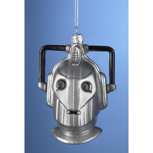 "4.25"" Doctor Who Cyberman Handcrafted Glass Christmas Ornament"