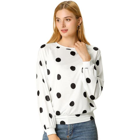 Women's Loose Casual Polka Dot Long Sleeve Top