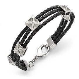 Chisel Stainless Steel Polished Leather Bracelet