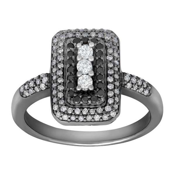 1/2 ct Black & White Diamond Ring in Black Rhodium-Plated 14K White Gold