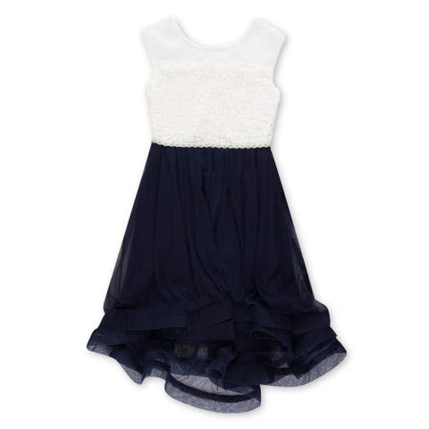 Speechless Girl's Dress White Blue Size 14 Embellished Colorblock Lace