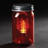 "6.5"" Battery Operated LED Edison Bulb Vintage-Style Red Glass Mason Jar Lantern"