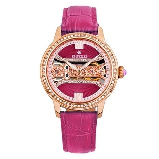 Empress Rania Mechanical Semi-Skeleton Leather-Band Watch - Pink