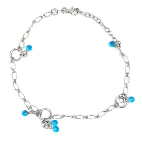 Cubic Zirconia Sterling Silver Ball Chain Bracelet by Orchid Jewelry