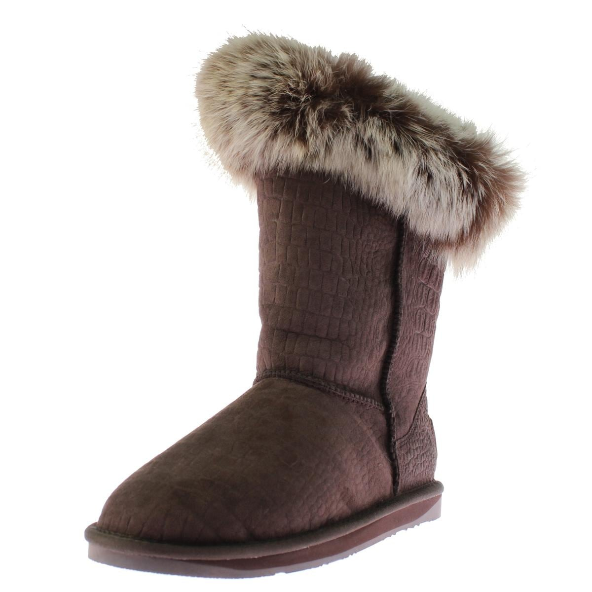 Australia Luxe Womens Foxy Short Casual Boots Sheepskin Crocodile Print - Thumbnail 3