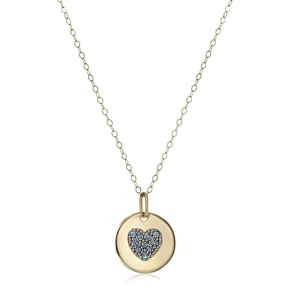 Crystaluxe March Heart Disc Pendant with Blue Swarovski Crystals in 14K Gold, 18""