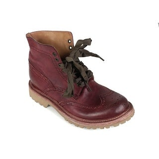 Brunello Cucinelli Burgundy Brogue Leather Ankle Boots