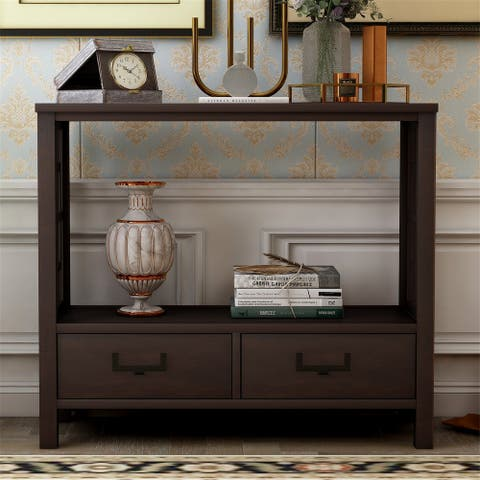 Merax Farmhouse Narrow Console Sofa Table with Two Bottom Drawers