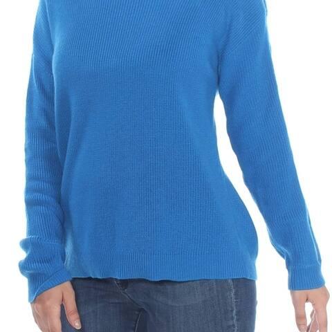 Bar Iii Ribbed Zipper-Sleeve On/Off Shoulder Sweater Beacon Blue