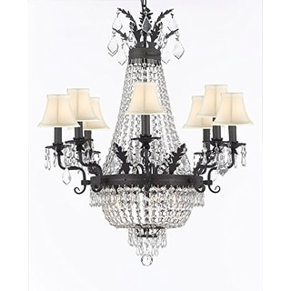 Empire Crystal Chandelier With White Shades