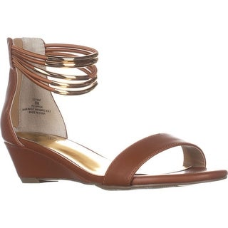 TS35 Leyna Ankle-Cuff Wedge Dress Sandals, Cognac