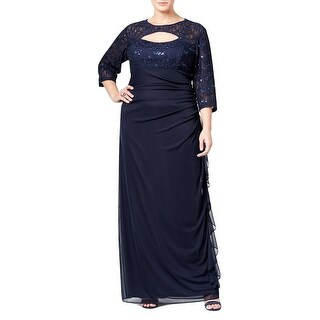 Betsy Adam Plus Size Sequined Lace Cutout Evening Gown Dress - 18W