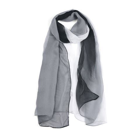 """Long Chiffon Lightweight Gradient Color Scarf For Women Black/White - 63""""x19.6"""""""