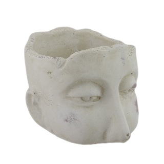 Weathered Finish Small Sculptural Cement Head Planter 5.25 In. - 4.25 X 3 X 5.25 inches