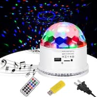 Costway 10W MP3 RGB 48 LED Crystal Magic Ball Stage Light Digital Disco DJ KTV Party - White