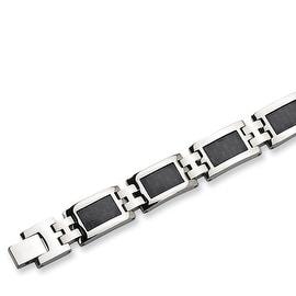 Chisel Black Carbon Fiber Stainless Steel Bracelet - 9.25 Inches