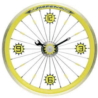 Maples LFT-16-YL Bike Wall Clock - With Yellow Aluminum Rim