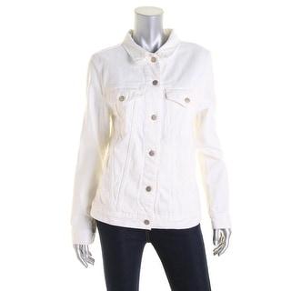 J Brand Womens White Wash Long Sleeves Denim Jacket - S/M