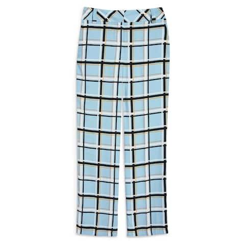 Topshop Womens Pants Blue Size 4 UK 8 Dress High-Rise Check-Print