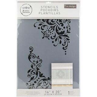 """Prima Re-Design 3D Stencil 10""""X18""""-Lenore Corners"""