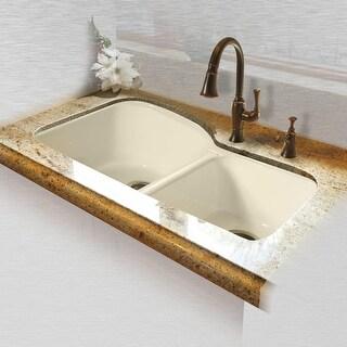 """Miseno MCI68-4UM 33"""" Double Basin Undermount Cast Iron Kitchen Sink"""