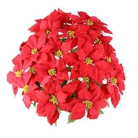 24 Stems Faux Velvet Poinsettia Christmas Bush, Red
