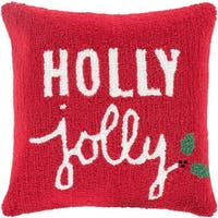 """18"""" Barn Red and Lace White """"Holly Jolly"""" Decorative Christmas Holiday Throw Pillow –Down Filler - green"""