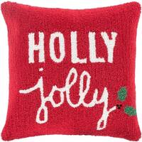 """18"""" Barn Red and Lace White """"Holly Jolly"""" Decorative Christmas Holiday Throw Pillow Cover"""