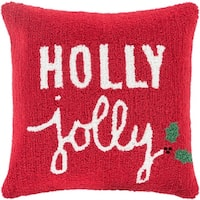 """18"""" Barn Red and Lace White """"Holly Jolly"""" Decorative Christmas Holiday Throw Pillow - green"""