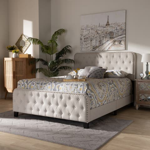 Annalisa Modern Transitional Beige Fabric Upholstered Button Tufted Queen Size Panel Bed