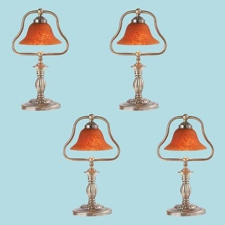 4 Table Lamp Amber Antique Brass Lamp 17H