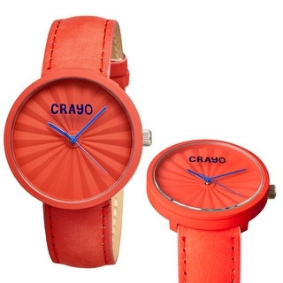 Crayo Pleats Unisex Quartz Watch, Genuine Leather Band