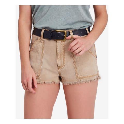 FREE PEOPLE Womens Beige Cutoff Denim Short Size 8