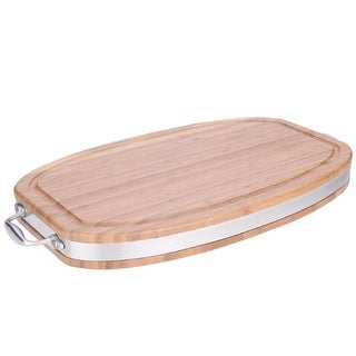 MIU France 90073 Edge Grain Bamboo Oval Serving Board: 12 Inch X 20 Inch X 2 Inch