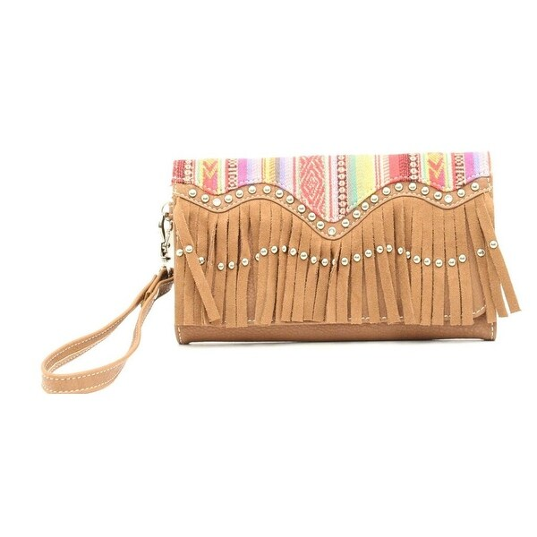 Blazin Roxx Western Wallet Womens Clutch Fringe Multi-Color - 7 1/2 x 4 1/2