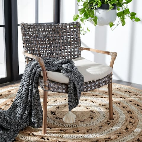 """SAFAVIEH Collette Coastal Rattan Accent Chair with Cushion - 29.5"""" W x 26.2"""" L x 31.1"""" H"""