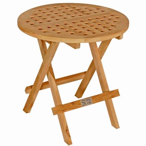 Seven Seas Teak Round Outdoor Teak Wood Folding Picnic Table with Carry Handle