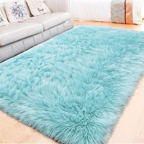 Lochas Super Soft Carpet Shaggy Sheepskin Area Rugs for Bedroom