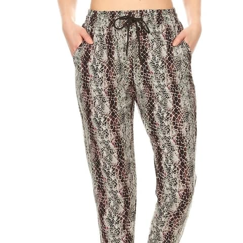 Snakeskin Printed Joggers With Solid Trim, Drawstring Waistband, Waist