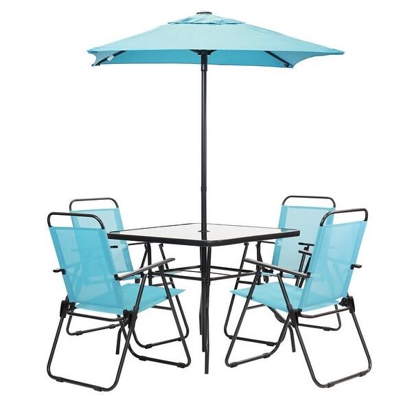 Patio Premier 6pc Patio Set - Square Table - Aqua. Opens flyout.