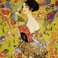 "Lady With A Fan/G. Klimt's Painting Counted Cross Stitch Kit-13.75""X13.75"" 14 Count"