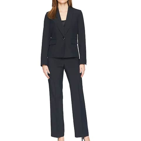 Le Suit Womens Pant Suit Navy Blue Size 14 Pinstripe Shawl Collar