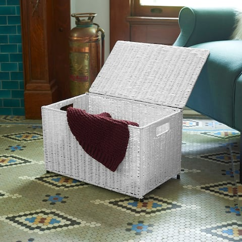 Household Essentials Small KD Chest in Paper Rope Artic White