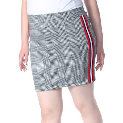 ULTRA FLIRT Womens Black Houndstooth Varsity Stripe Mini Wear To Work Skirt Juniors Size: XL