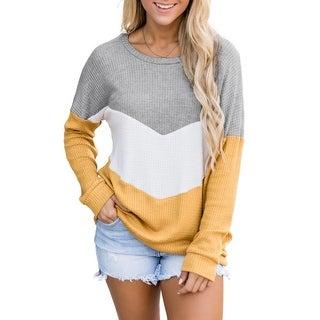 Link to Cali Chic Women's Sweatshirt Celebrity Yellow Chevron Waffle Color Block Pullover Sweatshirt Similar Items in Loungewear