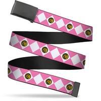 Blank Black  Buckle Diamond Pink Ranger Webbing Web Belt