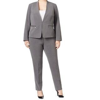 Tahari by ASL NEW Gray Dark Career 16W Plus Zip-Pocket Pant Suit Set